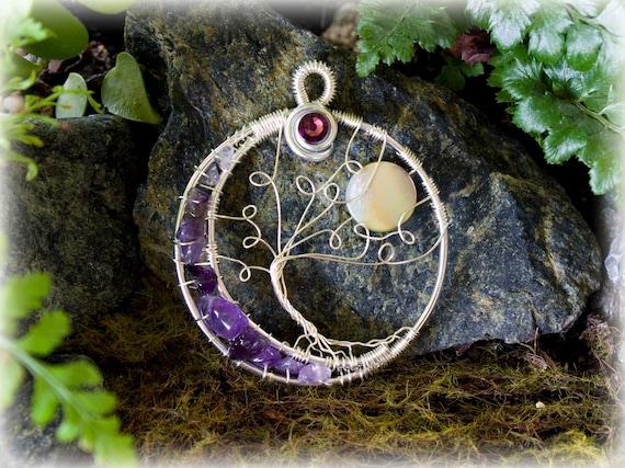 Statement Jewelry Waning Crescent Moon Tree of Life Jewelry