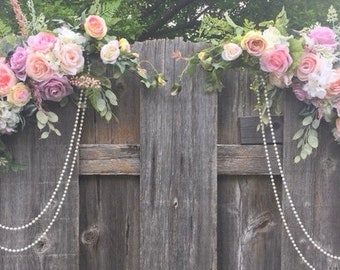 Wedding Arch - Set of 2 Arch Corner Swags - rose Arbor swag - Pastel Rose arbor -  Wedding Arbor Decorations - Wedding decorations