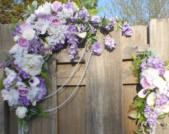 Wedding Arch Flowers - Lavender, Purple and White swag - Wedding swag - Wedding Arbor Decorations - Wedding decorations - Photo backdrop