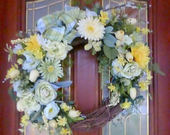 Daisy Front door decor - wreaths - grapevine wreath - Green and Yellow - Wall Decoration - Summer wreaths -Mothers Day Gift