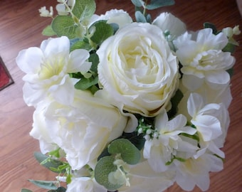 White rose bouquet etsy white rose wedding bouquet wedding flowers white rose bouquet wedding bouquet silk bouquet mightylinksfo