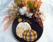 Fall hoop wreath, farmhouse decor, wood hoop pumpkin sign, Farmhouse wreath, pumpkin wreath, hoop wreath