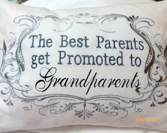 Grandparents Pillow cover - Parents pillow - Personalized gifts - Embroidered Grandparents pillow - Mothers day gift - Birth announcement