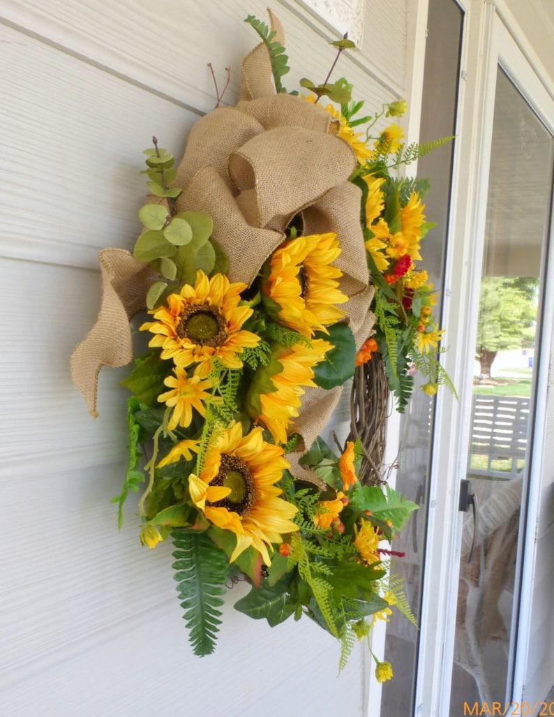 Farmhouse Wreath Fall Sunflower Wreath Sunflower wreaths Front Door Wreath Sunflower door wreath
