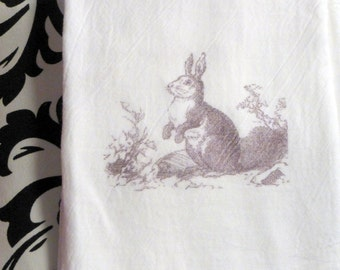 Tea Towel - Flour Sack Towel - Bunny Towel - Easter Rabbit towel - Kitchen towel - Hostess Gift - dish towel - 100% cotton