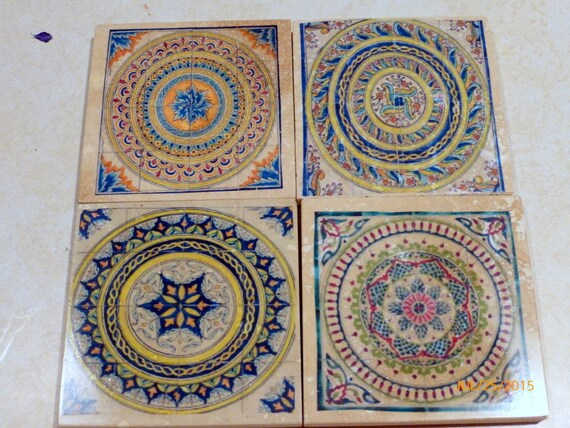 Dessous de verre marocain-travertin Coasters-Pierre Coasters-tuile  décorative sous-verres-Set de 4-dessous de verre en marbre-dessous de verre  ...
