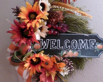 Fall Sunflower Wreath - Elegant Fall Decor - Welcome wreath - Holiday decor - Thanksgiving Wreath - Autumn Wreath