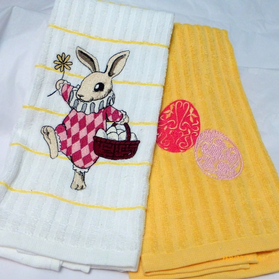 Easter Towel Set Embroidered Kitchen Towels Decorative