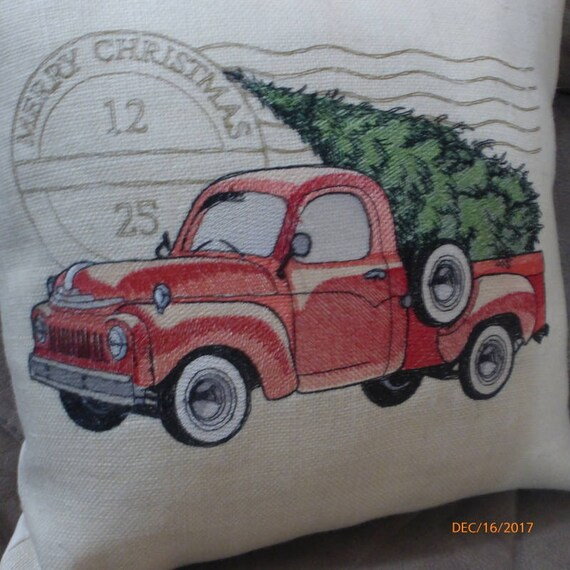 Burlap pillows Embroidered Truck pillow cover Christmas pillow cover Red Truck pillow cover