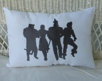 Wizard of OZ Pillow - Burlap pillow - Embroidered pillow - Accent Pillow - Embroidered Wizard of OZ pillow - Silhouette pillows