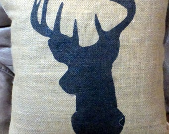 Burlap Deer Pillow Cover - Buck Pillow cover - animal pillows - gift for him - Burlap pillow - hand painted deer pillow - cabin decor