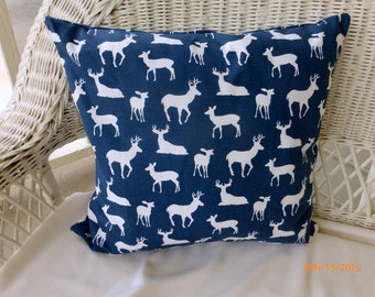 Deer Pillow Cover - Pillow Cover - 18x18 - Navy Blue and white cushion - accent pillows - Wildlife Pillows