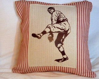 Decorative Baseball Pillow - French Ticking Pillow Cover - Vintage Baseball player - Red Stripe - sports pillow cover - Fathers Day Gift