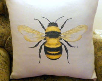 Bee Pillow cover - Extra Large floor pillows - Accent pillow covers - pillow covers - Queen Bee Pillows - 24x24 - Mothers Day gift