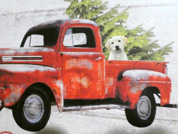 Old Red Truck With Christmas Tree In Back.Red Truck Wood Plaque Christmas Tree Farm Ad Wood Wall Art Old Pickup With A Tree And A Yellow Lab In Back French Country Decor