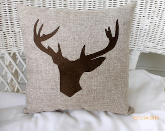 Deer Pillow - Burlap pillow with Embroidered Deer Head - animal pillow - Burlap pillows - wildlife pillow- Fathers Day Gift - Buck Head