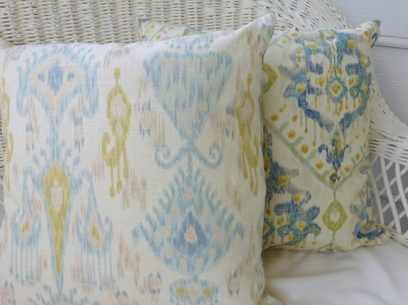 Robert Allen Ikat in Glacier Ikat Pillow Cover Designer Fabric linen Rayon blend -accent pillows
