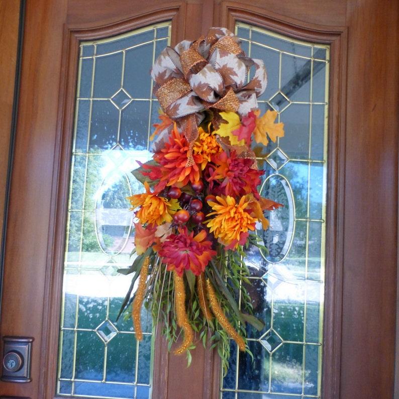 Thanksgiving Door Swags Autumn door swag French Country Decor Teardrop swag Autumn Wreaths Fall door swags Door Swags