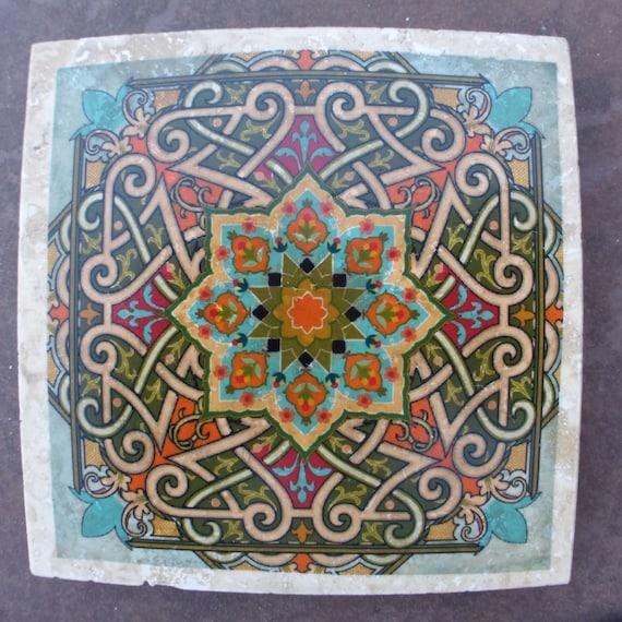 Dessous de verre marocain travertin Coasters-Pierre Coasters-tuile  décorative sous-verres-Set de 4-dessous de verre en marbre-tuile marocaine-