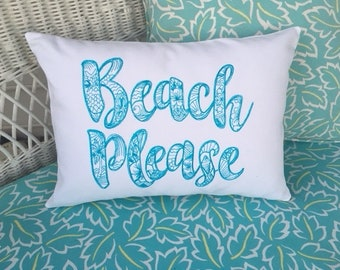 Beach Pillow cover - Embroidered pillow cover - 12x16 pillow cover - decorative accent pillows - Beach House Decor
