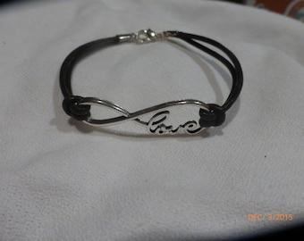 Infinity bracelet, Leather bracelet,  7 1/2 inch Infinity bracelet, Ladies Bracelet, gift for her
