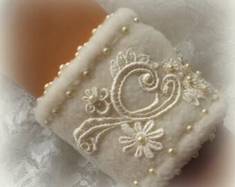 Off White Winter Bridal Wrist Cuff