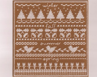 Four Seasons Sampler - Counted Cross Stitch Chart - PDF Instant Download