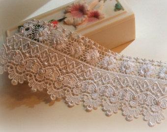 7 inch White Lace Bridal Bracelet / Wedding Lace Bracelet / Bridal Wrist Cuff