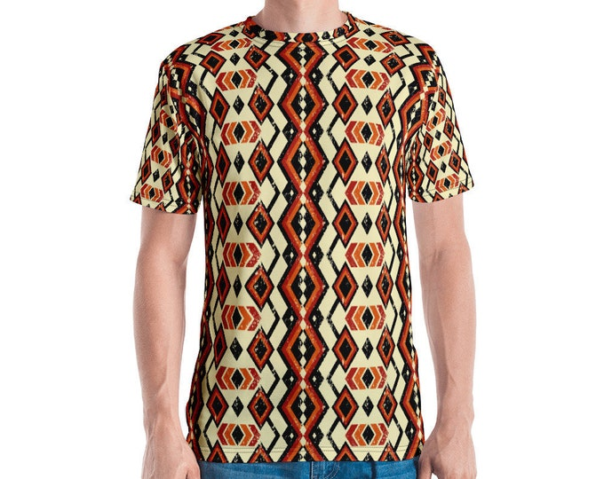 Unisex Mens Tee, All Over Print Shirt, Mens Womens Boho Hippie Print Shirt, Boho Bohemian Shirt, XS-2XL Beach Summer Tee, Batik Aztec Tee