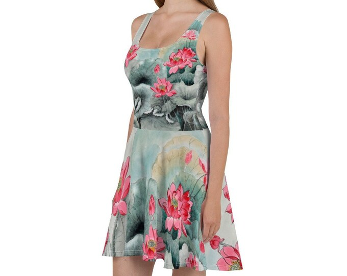 Womens Skater Dress, Boho Print Tank Dress, Floral Flowers Japanese Sleeveless All Over Print Dress, Hippie Polyester Spandex XS-3XL Sizes