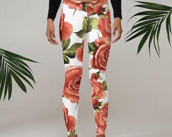 Womens Leggings, Boho Flowers Floral Leggings, Exercise Yoga Pants, Bohemian Wildflower Leggings XS S M L XL Size, Workout Sports Wear Pants