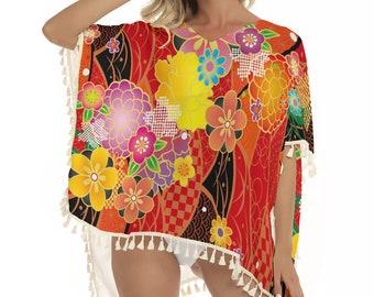 Japanese Floral Women's Square Fringed Shawl, XS-2XL Size Shawl, Boho Bohemian Pullover Fringe Shawl, Women's Shawl, Fringe Pullover Apparel