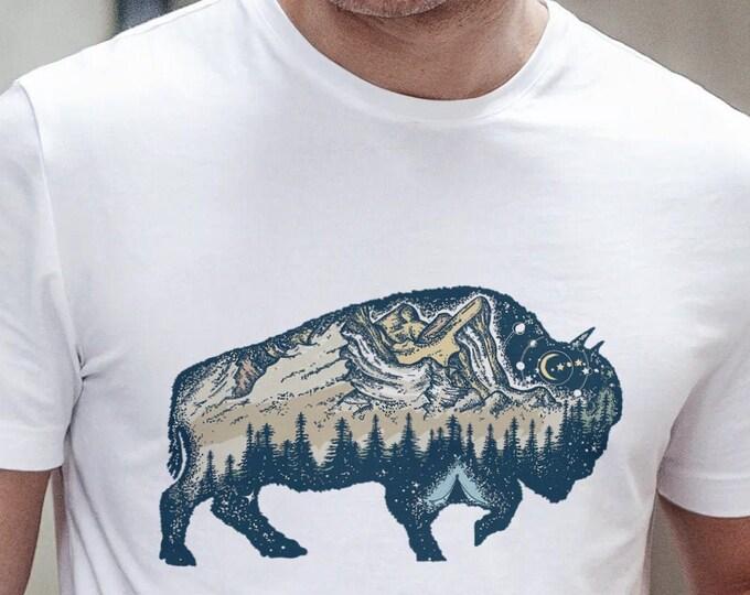 Unisex Jersey Short Sleeve Tee, Buffalo Animal Totem Hippie Boho Bohemian Tee Shirt, Bella Canvas 3001, Unisex Tee XS-3XL