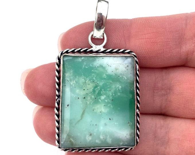 Womens Pendant, Green Chrysoprase Gemstone Pendant, Gem Silver Pendant, Boho Necklace, Bohemian Gemstone Jewelry, Boho Jewelry