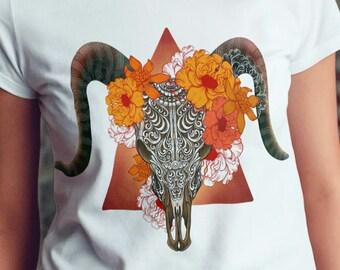 Unisex Jersey Short Sleeve Tee, Wicca Skull Floral Animal Totem Hippie Boho Bohemian Tee Shirt, Bella Canvas 3001, Unisex Tee XS-3XL
