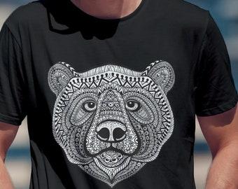 Unisex Jersey Short Sleeve Tee, Bear Animal Totem Drawing Hippie Boho Bohemian Tee Shirt, Custom Bella Canvas 3001, Unisex Tee, XS-3XL