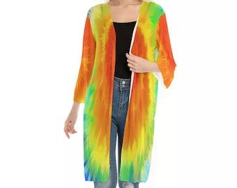 All-Over Print Women's V-neck Mesh Cardigan, Flowy Thin Cardigan Robe, Boho Bohemian Tie Dye Kimono, Hippie Clothing Apparel