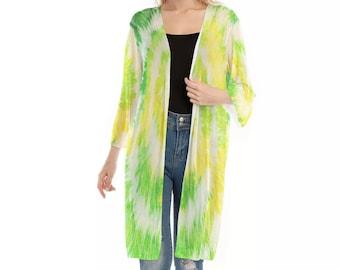 All-Over Print Women's V-neck Mesh Cardigan, Flowy Thin Cardigan Robe, Boho Bohemian Flowy Tie Dye Kimono, Hippie Clothing Apparel