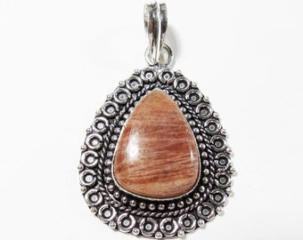 Sunstone Pendant, Natural Sunstone Gemstone Pendant, Sterling Silver Gemstone Pendant, 54x34mm, Sunstone Necklace, Sunstone Gemstone Jewelry