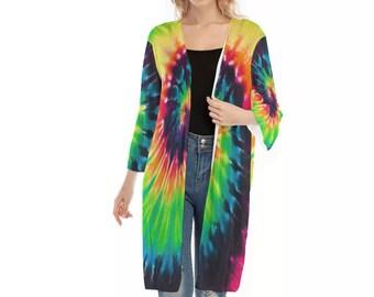 All-Over Print Women's V-neck Mesh Cardigan, Flowy Thin Cardigan Robe, Boho Bohemian Flowy Mesh Kimono, Hippie Clothing Apparel
