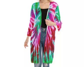 All-Over Print Women's V-neck Mesh Cardigan, Flowy Thin Cardigan Robe, Boho Bohemian Flowy Mesh Kimono, Tie Dye Hippie Clothing Apparel