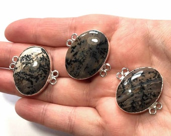 Sterling Silver Dendritic Agate Connector Link, Jewelry Gemstone Connectors, Agate Cabochon Link, Bezel Set Bracelet Jewelry Component