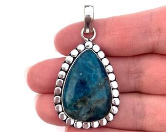 Womens Pendant, Blue Apatite Gemstone Pendant, Sterling Silver Pendant, Apatite Jewelry, Blue Necklace, Blue Gemstone Silver Pendant