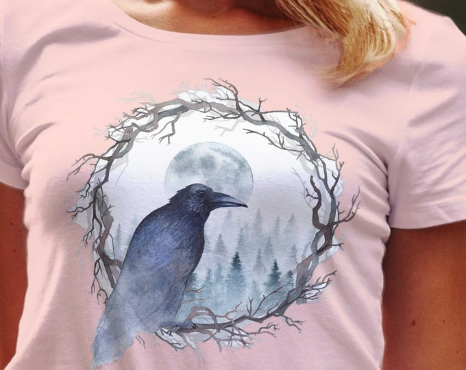 Unisex Jersey Short Sleeve Tee, Raven Bird Animal Totem Hippie Boho Bohemian Tee Shirt, Bella Canvas 3001, Unisex Tee XS-3XL