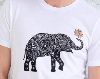 Unisex Jersey Short Sleeve Tee, Elephant Animal Totem Lotus Hippie Boho Bohemian Tee Shirt, Bella Canvas 3001, Unisex Tee XS-3XL