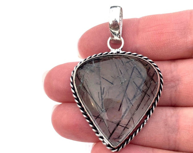 Womens Pendant, Tourmalinated Quartz Gemstone Pendant, Sterling Silver Pendant, Boho Necklace, Bohemian Gemstone Jewelry, Boho Jewelry
