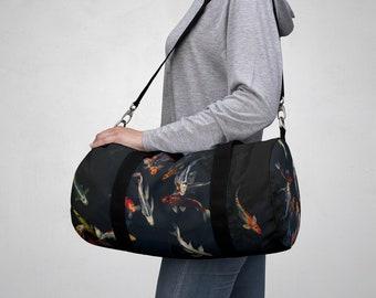 Duffel Bag, All Over Print Custom Oxford Canvas Duffel Bag, Adjustable Straps, Gym Travel Carry On Luggage, Boho Japanese Koi Fish Print Bag