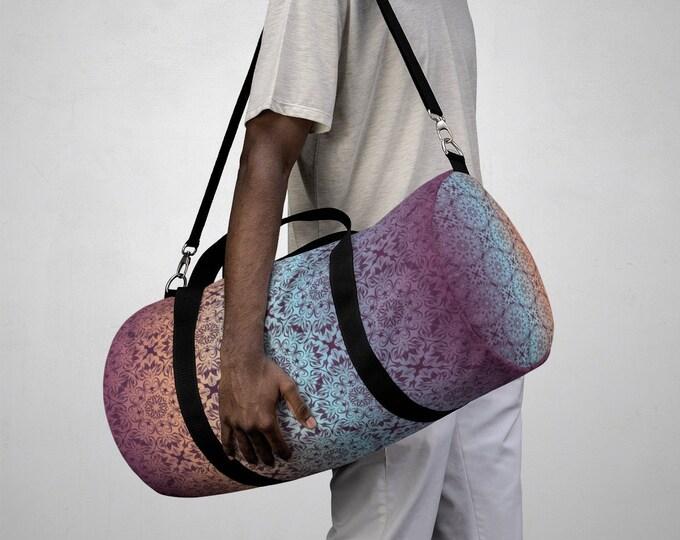 Duffel Bag, All Over Print Custom Oxford Canvas Duffel Bag, Adjustable Straps, Gym Travel Carry On Luggage, Boho Mandala Damask Print Bag
