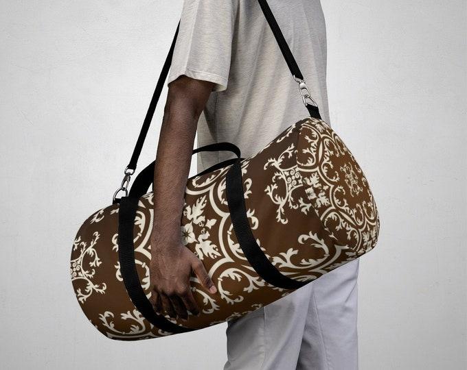 Duffle Bag, All Over Print Custom Oxford Canvas Duffle Bag, Adjustable Straps, Yoga Gym Travel Carry On Luggage, Boho Damask Print Bag
