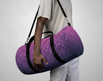Duffel Bag, All Over Print Custom Oxford Canvas Duffel Bag, Adjustable Straps, Yoga Gym Travel Carry On Luggage, Boho Damask Print Bag